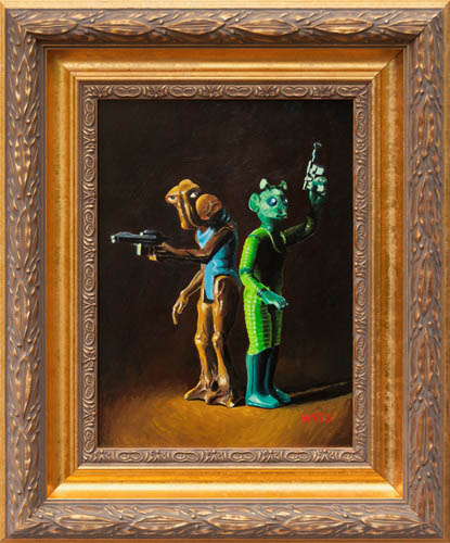 Hammerhead and Greedo - Vintage Star Wars figure Oil Painting by Mats Gunnarsson