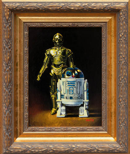 R2-D2 and C-3PO - Vintage Star Wars figure Oil Painting by Mats Gunnarsson