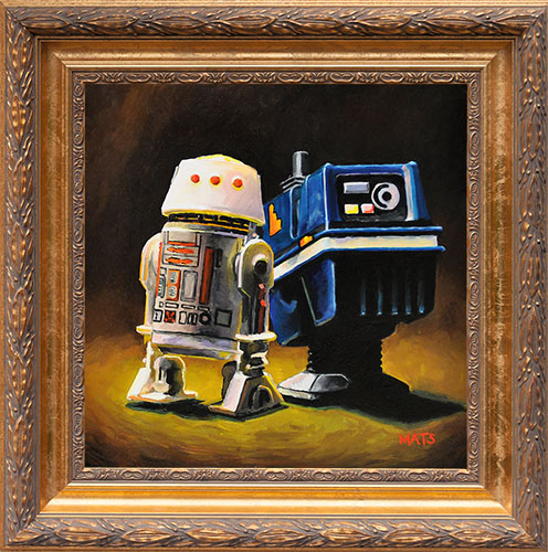 R5-D4 and Power Droid - Vintage Star Wars figure Oil Painting by Mats Gunnarsson