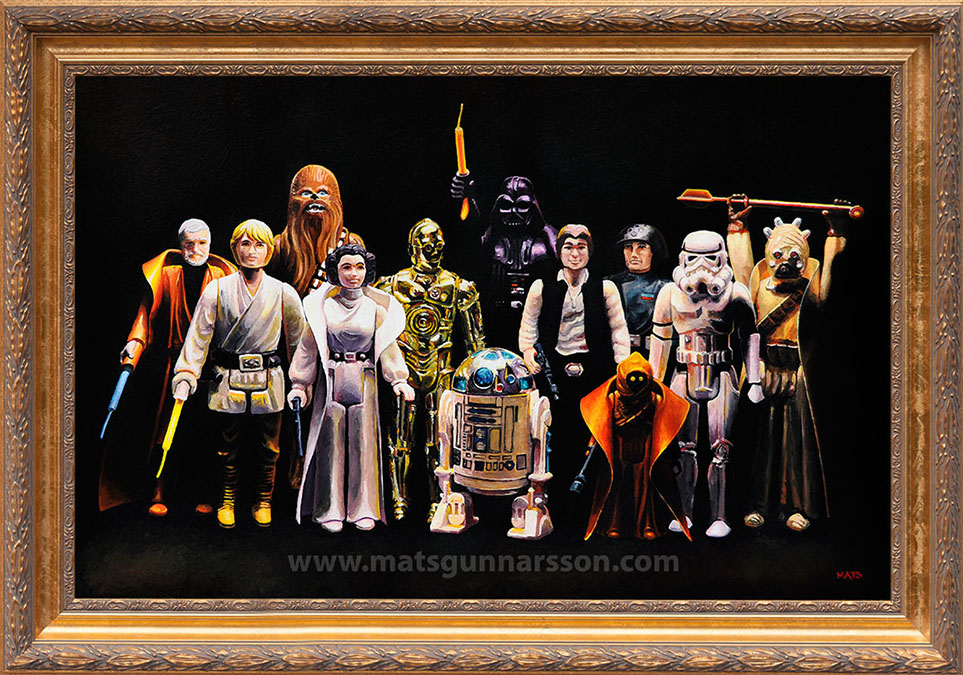 First 12 Star Wars figures - Vintage Star Wars figure Oil Painting by Mats Gunnarsson